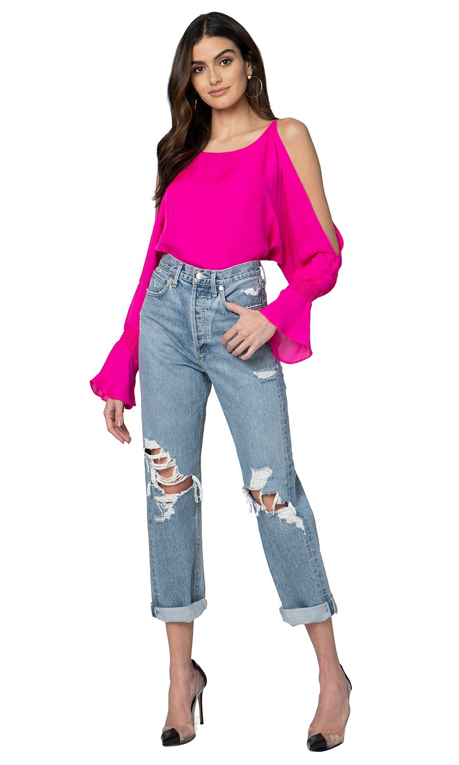 Jennifer Hope Clothing Silk Sherry Blouse Top in Pop Pink