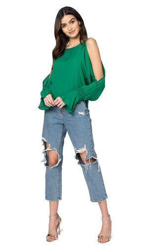 Jennifer Hope Clothing Silk Sherry Blouse Top in Kelly Green