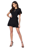 Jennifer Hope Clothing Silk Tori Ruffle Short Mini Dress in Black