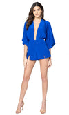 Jennifer Hope Clothing Silk Dani Romper in Cobalt Blue