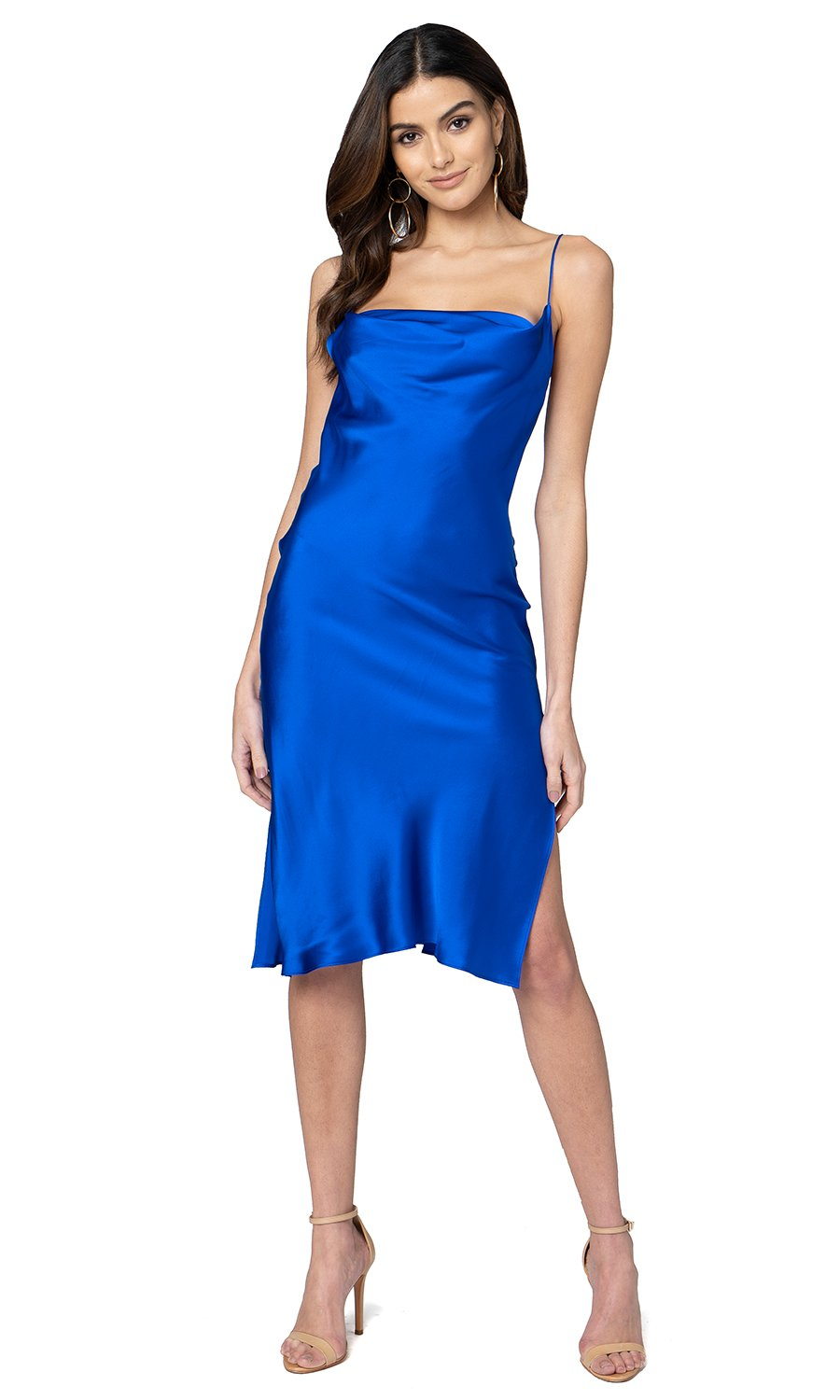 Jennifer Hope Clothing Silk Zozo Midi Slip Dress in Cobalt Blue