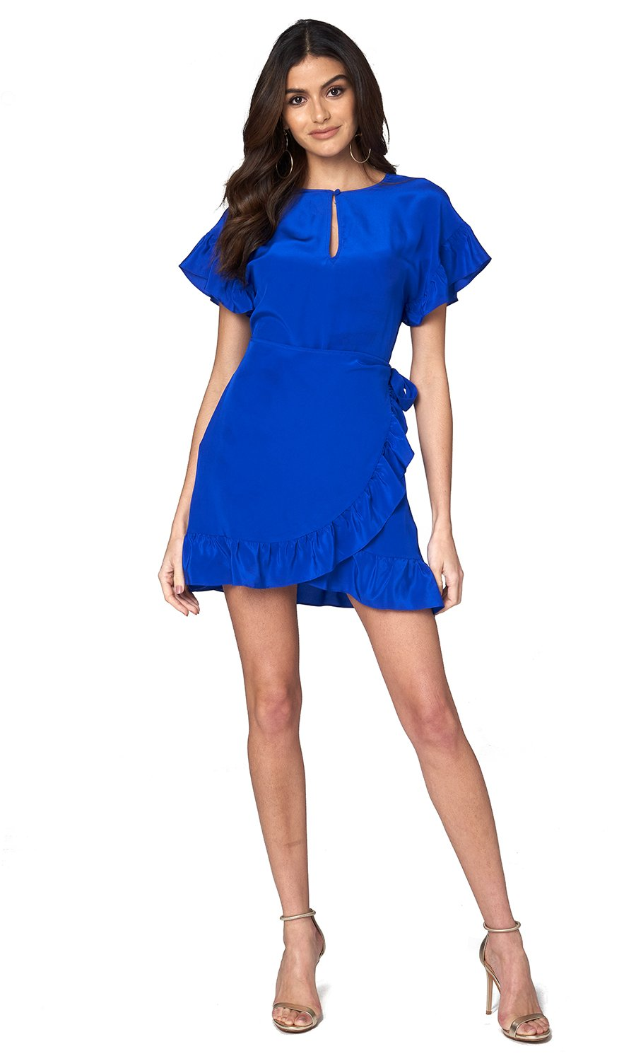 Jennifer Hope Clothing Silk Tori Ruffle Short Mini Dress in Cobalt Blue