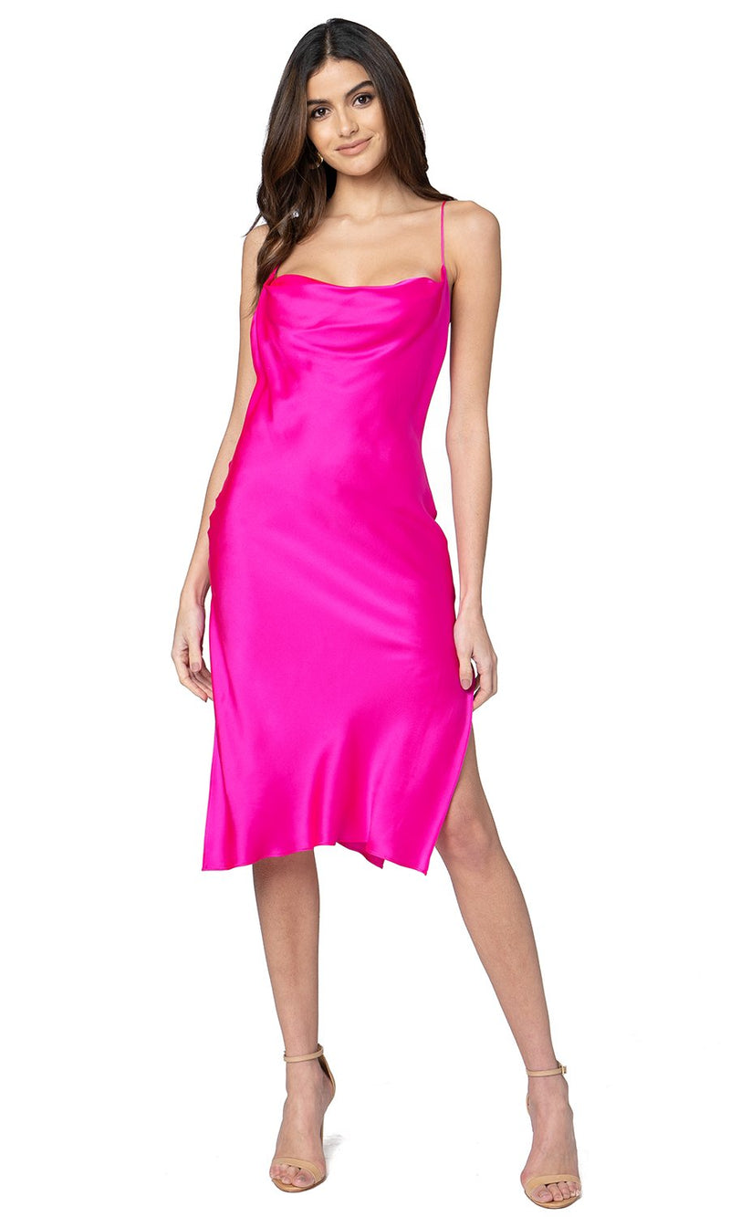 Jennifer Hope Clothing Silk Zozo Midi Slip Dress in Pop Pink