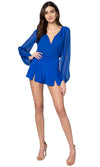 Jennifer Hope Clothing Silk Daisy Wrap Top in Cobalt Blue