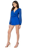 Jennifer Hope Clothing Jax Silk High Waisted Shorts in Cobalt Blue