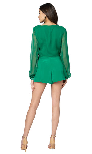 Jennifer Hope Clothing Silk Daisy Wrap Top in Kelly Green