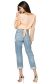 Jennifer Hope Clothing Silk Daisy Wrap Top in Nude Blush