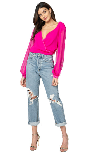 Jennifer Hope Clothing Silk Daisy Wrap Top in Pop Pink