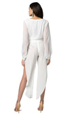 Jennifer Hope Clothing Silk Lili Side Slit Pants in White