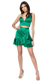 Jennifer Hope Clothing Lizzie Silk Ruffle Mini Skirt in Kelly Green