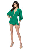 Jennifer Hope Clothing Silk Dani Romper in Kelly Green