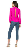 Jennifer Hope Clothing Silk Leah Blouse Top in Pop Pink
