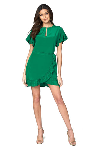 Jennifer Hope Clothing Silk Tori Ruffle Short Mini Dress in Kelly Green