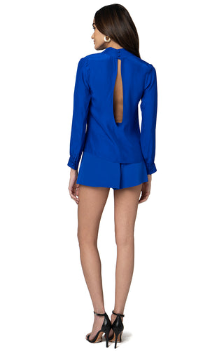 Jennifer Hope Clothing Silk Leah Blouse Top in Cobalt Blue
