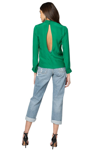 Jennifer Hope Clothing Silk Leah Blouse Top in Kelly Green