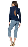 Jennifer Hope Clothing Silk Leah Blouse Top in Navy Blue