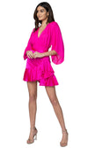 Jennifer Hope Clothing Lizzie Silk Ruffle Mini Skirt in Pop Pink