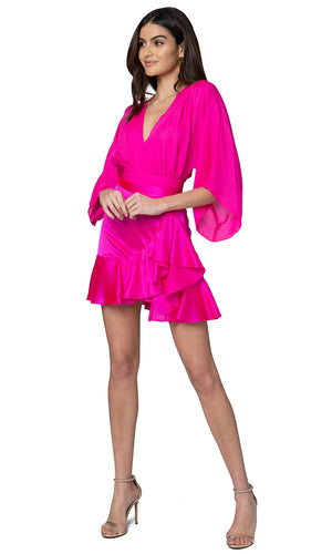 Jennifer Hope Clothing Silk Kimono Wrap Crop Top in Pop Pink
