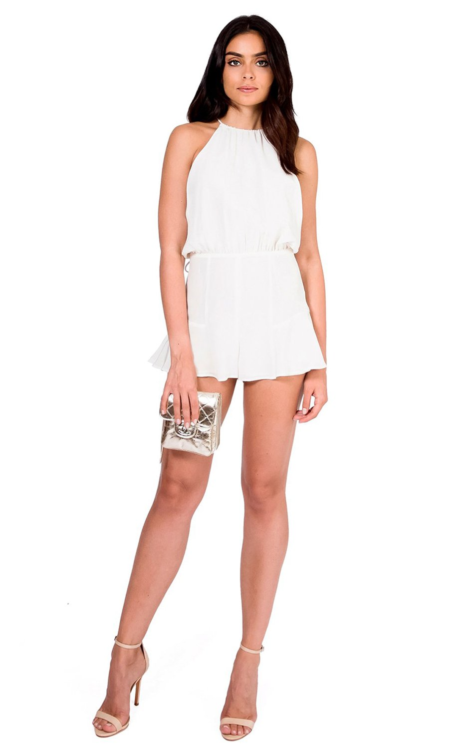 Jennifer Hope Clothing Mimi Halter Silk Romper in White