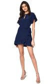 Jennifer Hope Clothing Silk Tori Ruffle Short Mini Dress in Navy Blue