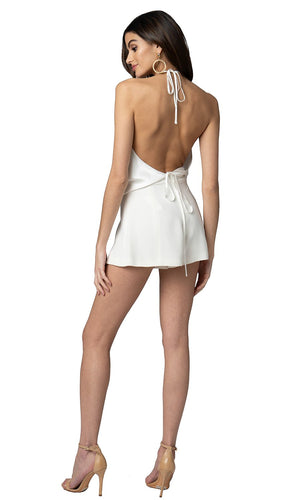Jennifer Hope Clothing Silk Naya Open Back Halter Top in White