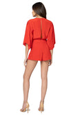 Jennifer Hope Clothing Silk Dani Romper in Tomato Red