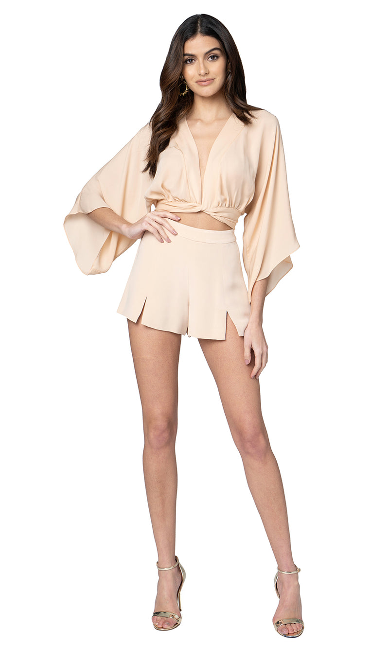 Jennifer Hope Clothing Silk Kimono Wrap Crop Top in Nude