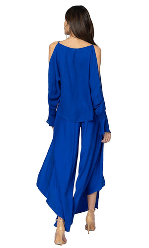 Jennifer Hope Clothing Silk Sherry Blouse Top in Cobalt Blue