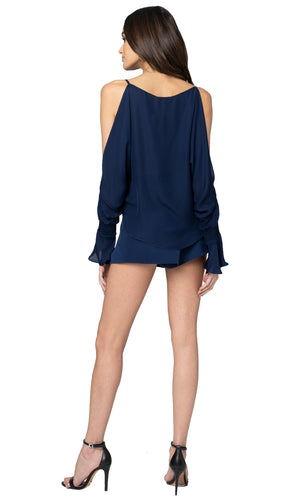 Jennifer Hope Clothing Jax Silk High Waisted Shorts in Navy Blue