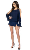 Jennifer Hope Clothing Silk Sherry Blouse Top in Navy Blue