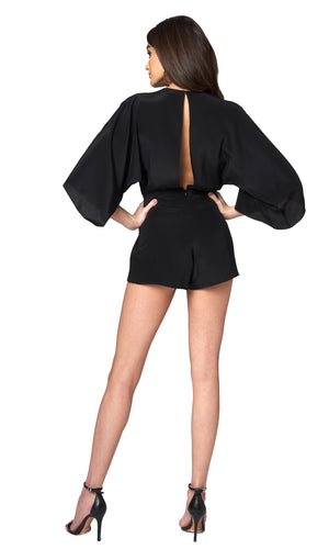 Jennifer Hope Clothing Silk Dani Romper in Black