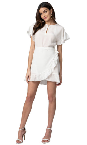 Jennifer Hope Clothing Silk Tori Ruffle Short Mini Dress in White