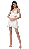 Jennifer Hope Clothing Lizzie Silk Ruffle Mini Skirt in White