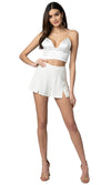 Jennifer Hope Clothing Jax Silk High Waisted Shorts in White