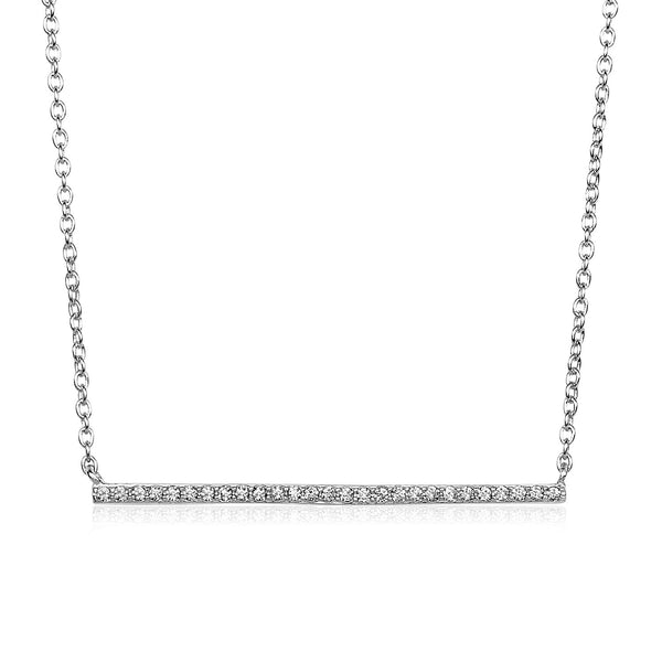 Sterling Silver Straight Bar Necklace with Cubic Zirconias