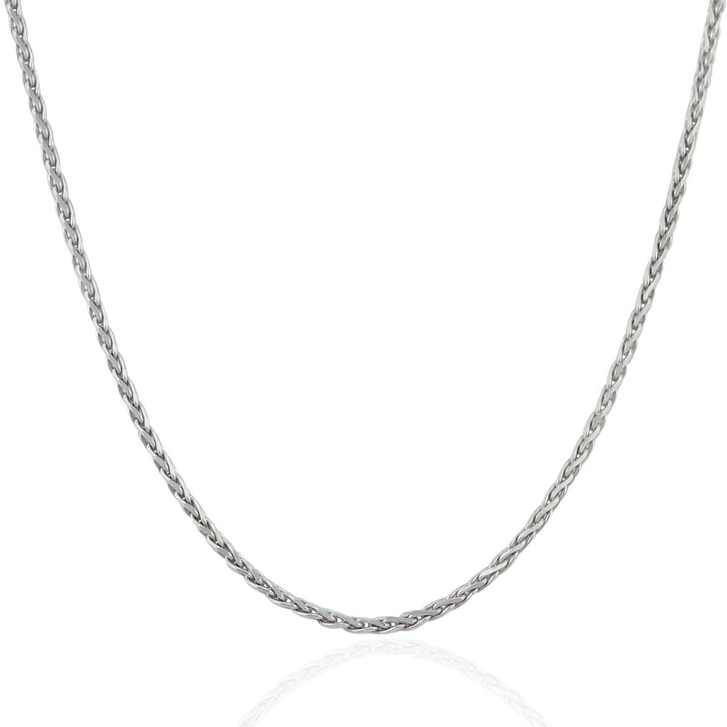2.2mm Sterling Silver Rhodium Plated Wheat Chain