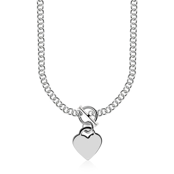 Sterling Silver Rhodium Plated Rolo Chain Necklace with a Heart Toggle Charm