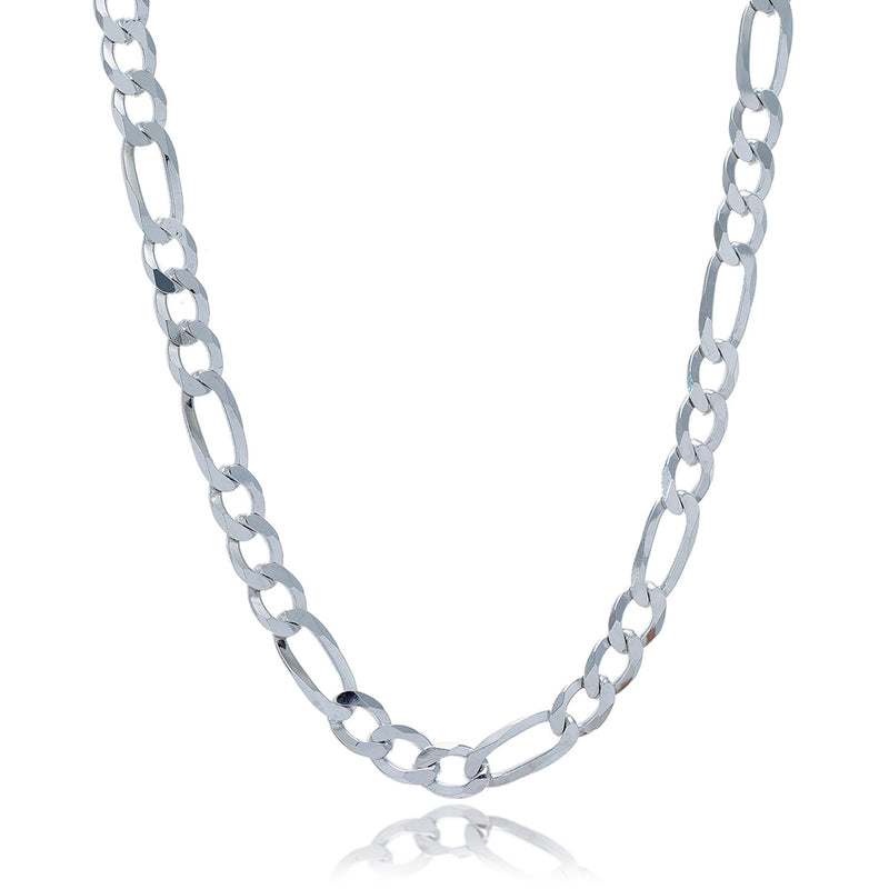 Rhodium Plated 8.1mm Sterling Silver Figaro Style Chain