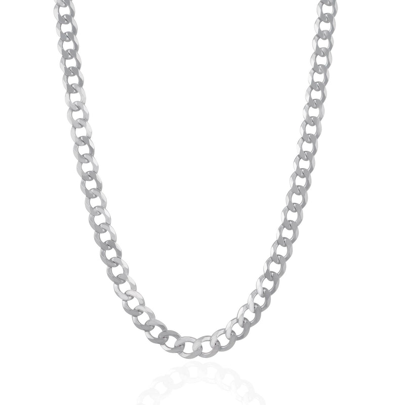 Rhodium Plated 7.2mm Sterling Silver Curb Style Chain