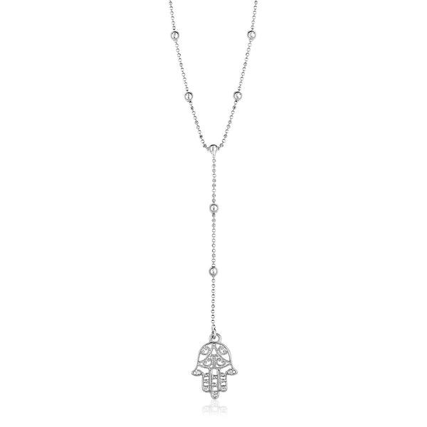 Sterling Silver Lariat Necklace with Hand of Hamsa Symbol