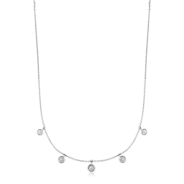 Sterling Silver Necklace with Cubic Zirconia Dangles
