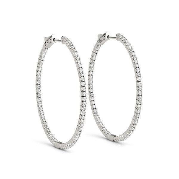 14k White Gold Slim Two Sided Diamond Hoop Earrings (1 1/2 cttw)