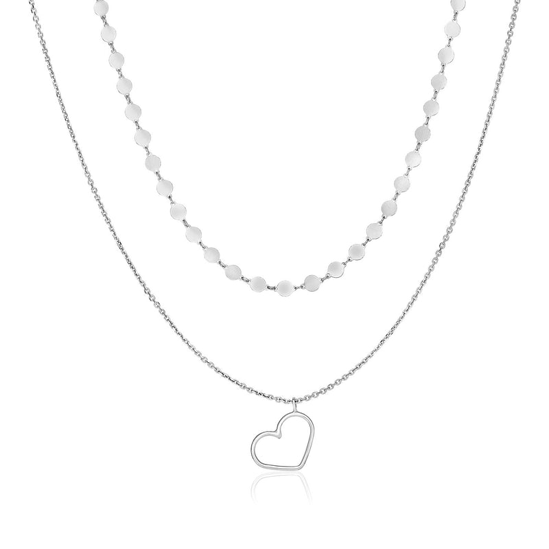 Sterling Silver 16 inch Two Strand Necklace with Open Polished Heart