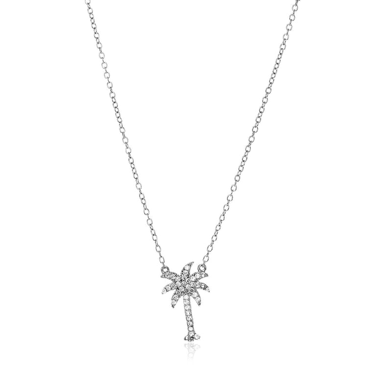 Sterling Silver Palm Tree Necklace with Cubic Zirconias