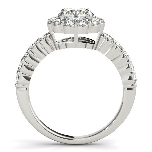 14k White Gold Round Floral Motif Diamond Engagement Ring (1 5/8 cttw)