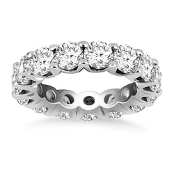 14k White Gold Round Diamond Decorated Eternity Ring