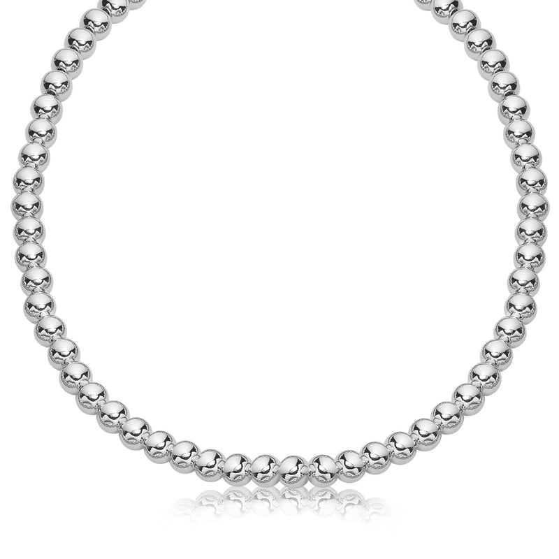 Sterling Silver Rhodium Plated Necklace with a Polished Bead Style (8mm)