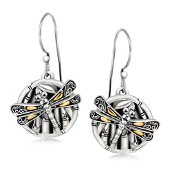18k Yellow Gold and Sterling Silver Branch and Dragonfly Design Earrings