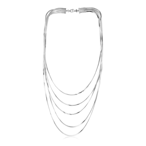 Sterling Silver Five Strand Polished Chain Necklace