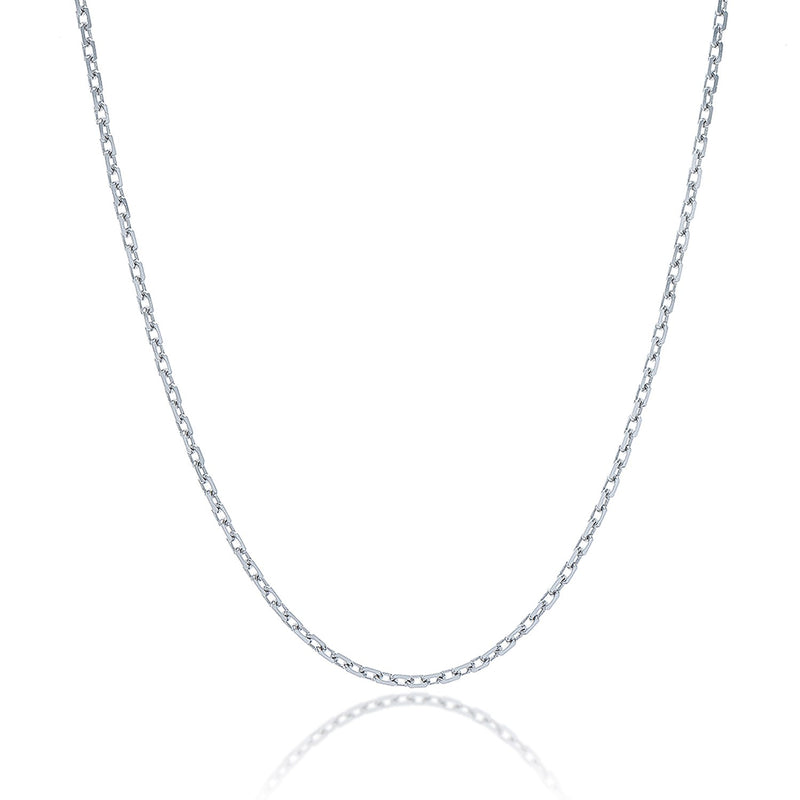 Sterling Silver Rhodium Plated Cable Chain 1.5mm